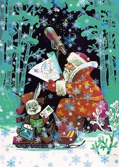 Santa Claus, Telescope, Hare, Mail, Postcard