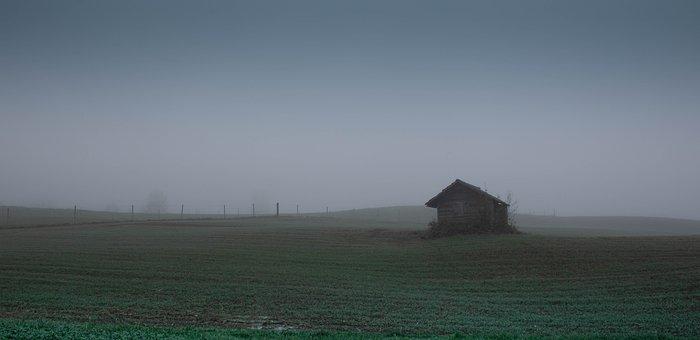 Field, Hut, Fog, Meadow, Mist, House, Landscape