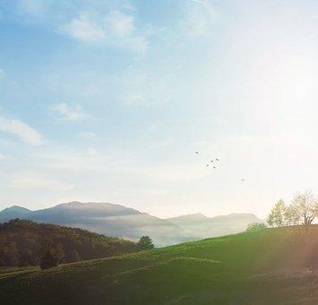 Meadow, Mountains, Sunrise, Sunlight, Dawn, Dusk