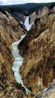 Waterfall, River, Cliffs, Mountains, Mountain Range
