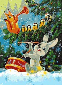 Bunny, Squirrel, Birds, Forest, Music, Drum, Flute
