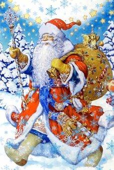 Santa Claus, Gifts, Bag, Postcard, New Year's Eve