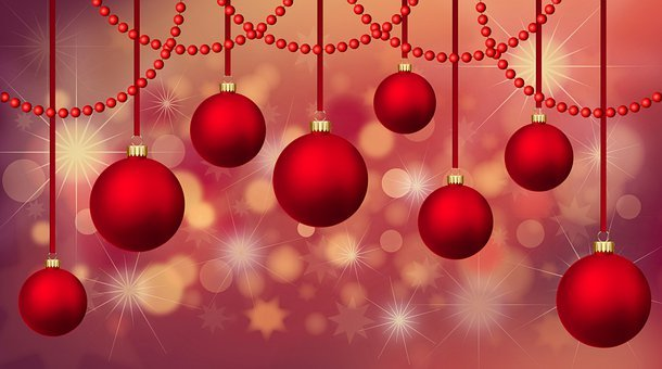 Ornaments, Lights, Christmas, Bokeh, Background
