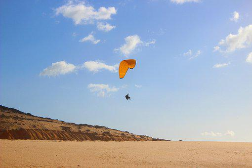 Paragliding, Flying, Sand, Parachute, Coast, Beach