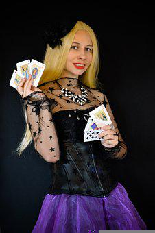 Woman, Cards, Playing Cards, Fortune Teller, Circus