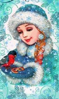 Girl, Snow Maiden, Bullfinch, New Year's Eve, Postcard