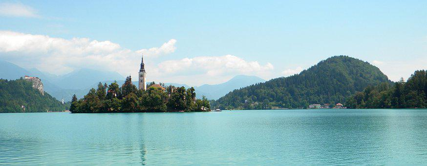 Church, Islet, Lake, Lake Bled, Water, Reflection