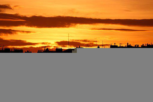 Sunset, Cityscape, Silhouettes, Orange Sky, Sky, Clouds