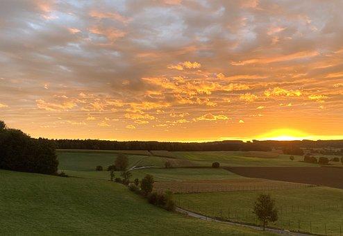 Sunrise, Fields, Sky, Plains, Land, Grassland