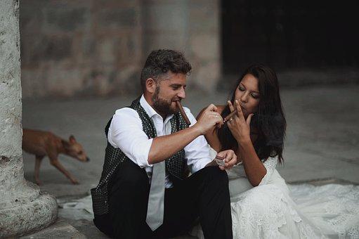 Wedding, Couple, Cigars, Smoking, Smoking Cigars