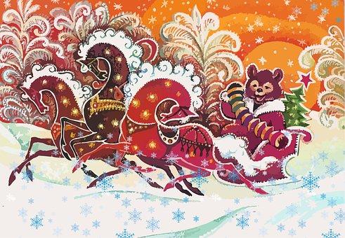 Bear, Horses, Sled, Snow, Forest, Postcard