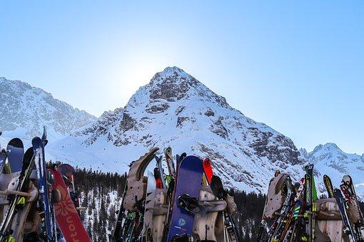 Snowboards, Alps, Snow, Mountains, Snow Mountains