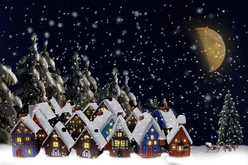 Snow, Village, Houses, Snowfall, Christmas Village