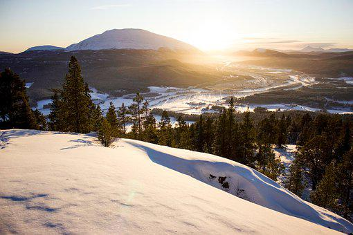 Hill, The Valley, Snow, Sunset, Trees, Winter, Peak