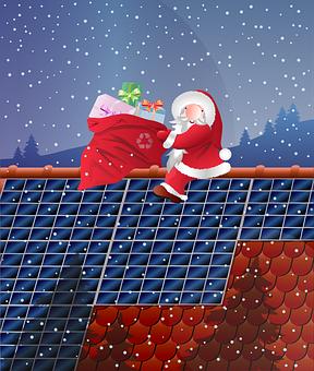 Santa Claus, Presents, Roof, Snowfall, Snow, Winter