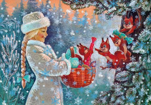 Snow Maiden, Basket, Squirrels, Snow, Snowflakes