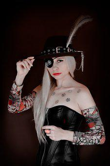 Woman, Tattoo, Pirate, Hat, Eye Patch, Pen, Steampunk