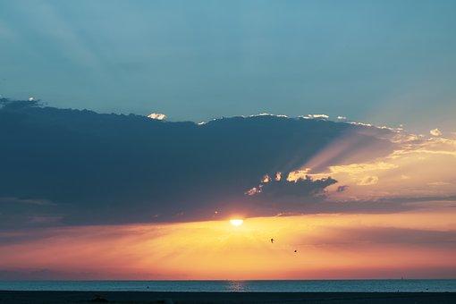 Sea, Horizon, Sunrise, Coast, Clouds, Sun, Sunlight
