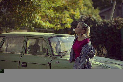 Woman, Blonde, Car, Old Car, Vintage Car, Retro