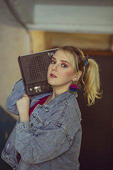 Woman, Blonde, Boom Box, Retro, Vintage, Classic