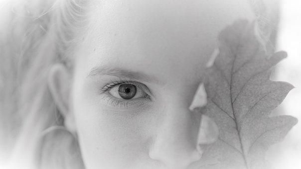Eye, Woman, Young, Girl, Face, Autumn, Leaf, Oak Leaf
