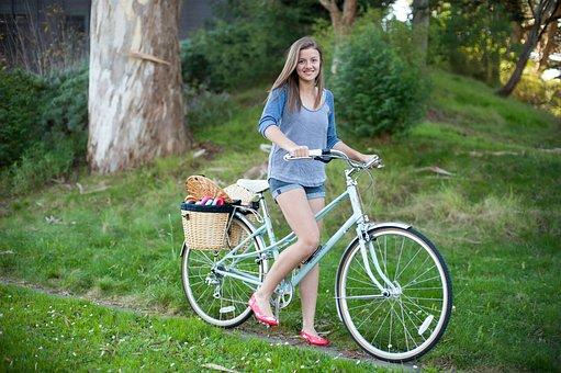 Woman, Bike, Park, Portrait, Young Woman, Female