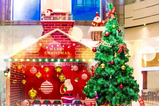 House, Christmas Tree, Ornaments, Lights, Bokeh