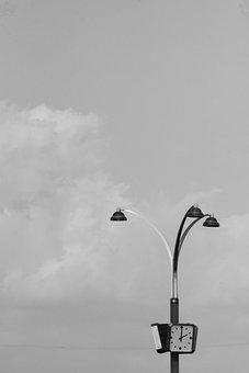 Clock, Lamps, Lamppost, Urban, Clouds, Sky