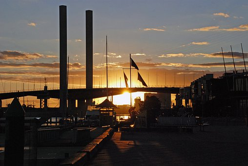 Bridge, Sunset, Melbourne, Docklands, Architecture