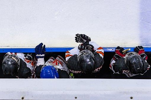 Ice, Hockey, Team, Players, Uniforms, Helmets, Gloves
