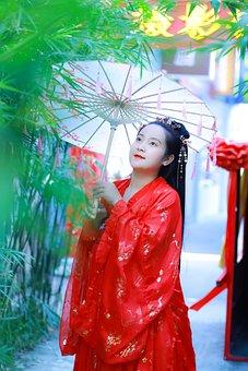 Woman, Model, Kimono, Umbrella, Make Up, Traditional