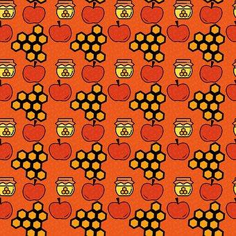 Apples, Honey, Honeycomb, Pattern, Design, Sweet