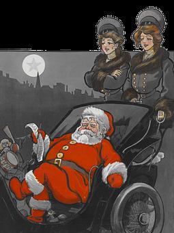 Santa Claus, Carriage, Vintage, People, Women, Retro
