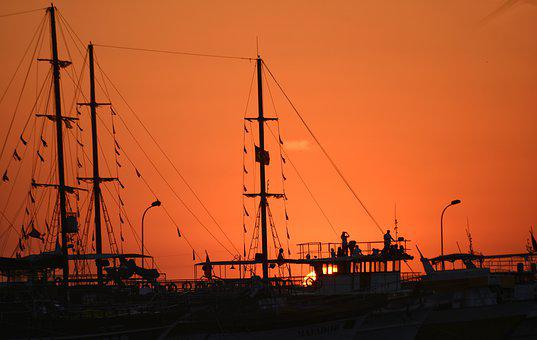 Kusadasi Boat, Sunset, Silhouette, Shadow, Ship, Dusk