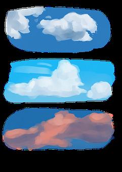 Sky, Clouds, Sunset, Watercolour Digital Art, Drawing