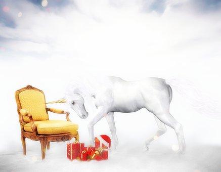 Unicorn, Christmas, Atmosphere, Fairy Tale, Snow, Cold