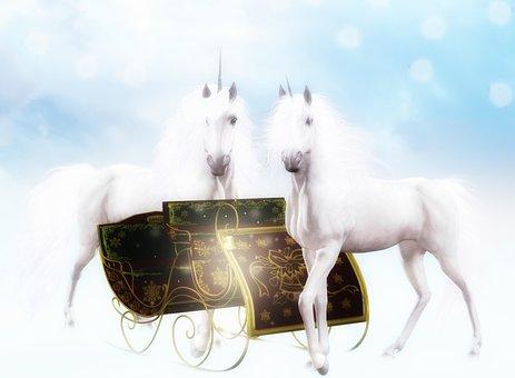 Unicorns, Pair, Sled, Sleigh, Sledge, Christmas Sleigh