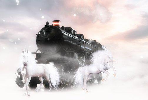 Unicorns, Pair, Train, Locomotive, Old Train, Vintage