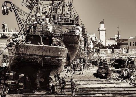 Shipyard, Repair, Boat, Old, Dockyard, Workers, Morocco