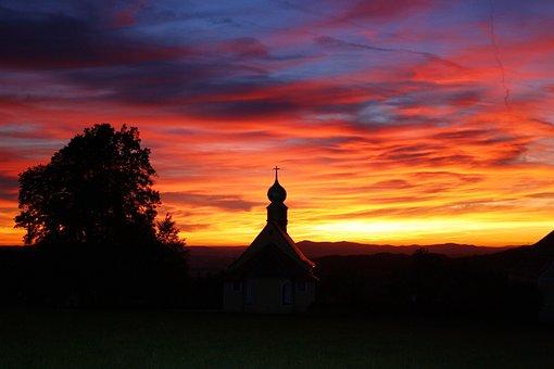 Sunset, Abendstimmung, Church, Herzogau, Bavaria