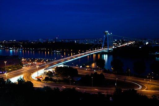 Bridge, Traffic, Cars, River, Lights, Bratislava, Night