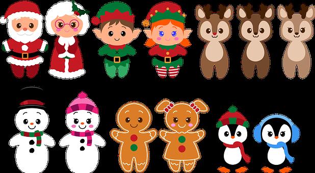 Christmas, Characters, Cartoon, Santa Claus, Elves