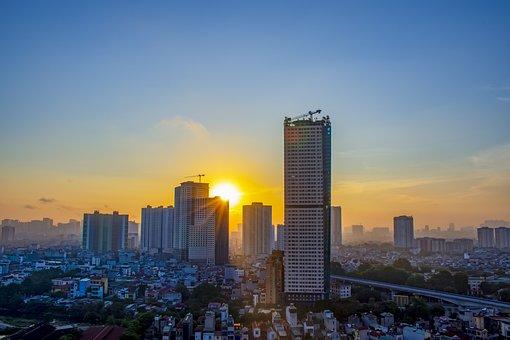 Sunrise, Buildings, City, Sunlight, Sun, Dawn, Morning
