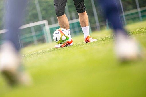 Ball, Football, Grass, Training, Duel, Sport, Rush