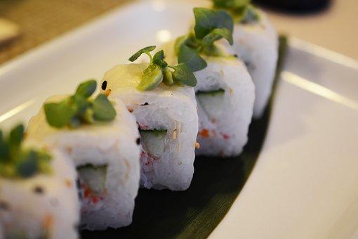 Sushi, California Roll, Food, Platter, Japan, Seafood