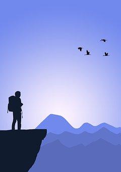 Hiker, Peak, Cliff, Silhouette, Mountain, Hiking, Man