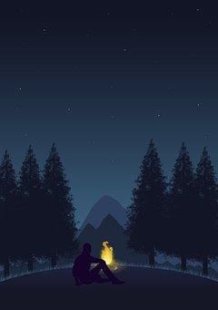 Forest, Campfire, Man, Silhouette, Dark, Night, Evening
