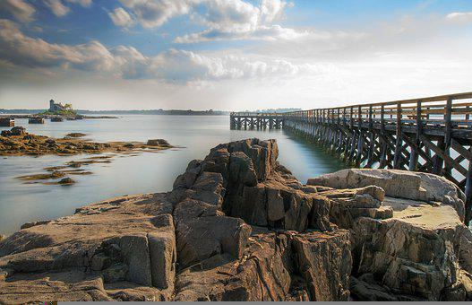 Fort Foster, Maine, Kittery Point, Ocean, Pier, Seaside