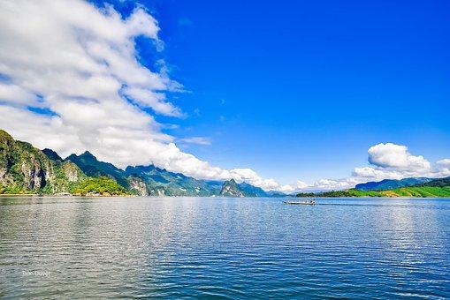 Sea, Boat, Mountains, Ocean, Bay, Water, Scenery