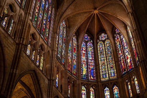 Cathedral, Architecture, Interior, Stained Glass